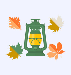 color autumn leaves and vintage camping lantern vector image