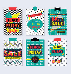 colorful and funky black friday sale cards set vector image
