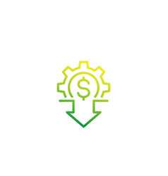 Cost reduction icon linear vector
