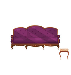 couch with purple velvet trim and chair with beige vector image