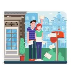 Couple receiving mail from letterbox vector
