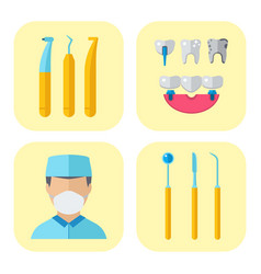 Dentist doctor character and stomatology equipment vector