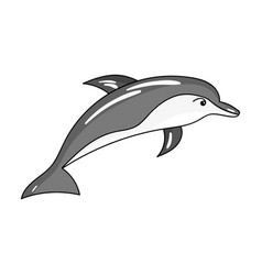 Dolphin icon in monochrome style isolated on white vector