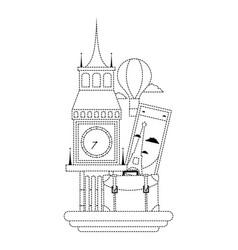 Dotted shape big ben of london with air balloon vector