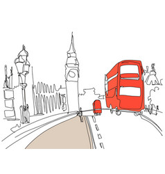 drawing london tower street with red bus and vector image