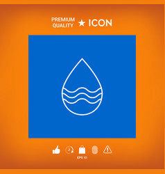Drop line icon with waves vector