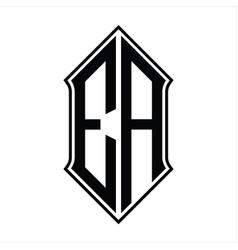 Ea logo monogram with shieldshape and outline vector