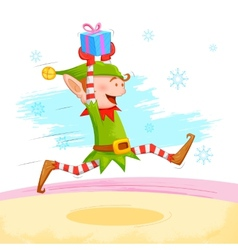 Elf distributing Christmas gift vector image