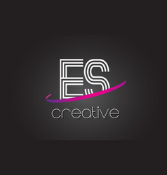 es e s letter logo with lines design and purple vector image