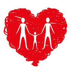 Family together inside heart vector