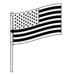 flag united states of america in flagpole to side vector image