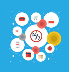 Flat icons buy now present purchase and other vector