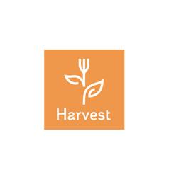 fork plant leaf flower harvest vegan food logo vector image