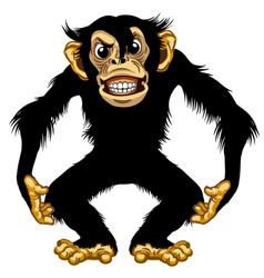 Furious cartoon chimpanzee vector