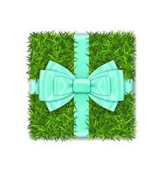 gift box 3d green grass box top view blue ribbon vector image