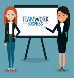 Group of businesswoman with paperboard teamwork vector