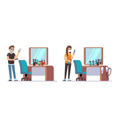 hairdresser characters welcome to barbershop vector image