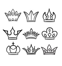 Hand drawn crowns logo and icon collection vector