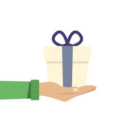 Hand holding or offering gift or present with dark vector