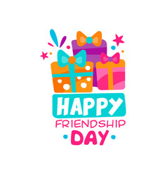 Happy friendship day logo template three colorful vector