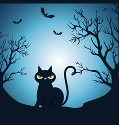 Happy halloween card with black cat in the night vector