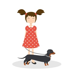 happy smiling girl with her dachshund vector image
