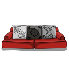 large red low sofa with gray pillows in patterns vector image