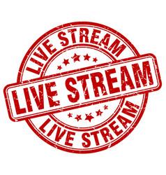 Live stream red grunge stamp vector