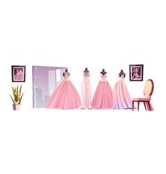 luxury bride dresses in wedding shop vector image