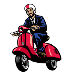 Man in black suit riding vintage scooter vector