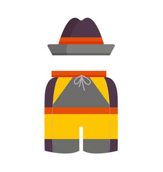 man summer hat and shorts icon vector image