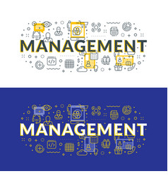 Management flat line concept for web banner and vector