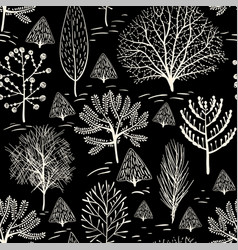 Monochrome floral pattern wallpaper in two colors vector