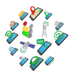 phone cartoon icons vector image