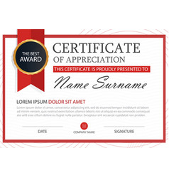 red elegance horizontal certificate with vector image
