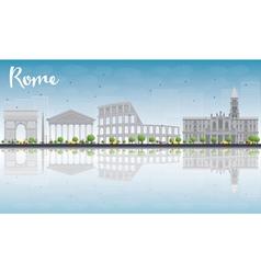 Rome skyline with grey landmarks vector