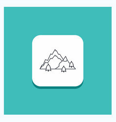 round button for mountain landscape hill nature vector image
