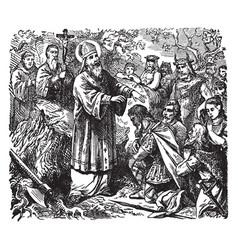 Saint boniface converts many in germania vintage vector