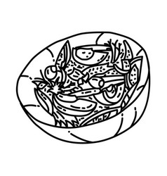 salade nicoise icon doodle hand drawn or outline vector image