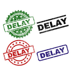 Scratched textured delay seal stamps vector