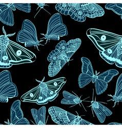 Seamless moth background vector