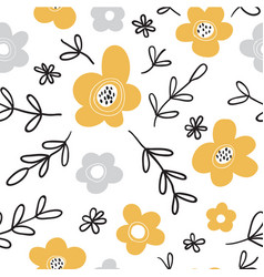 seamless pattern with flowers scandinavian style vector image