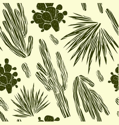 Seamless pattern with the image of cactuses vector