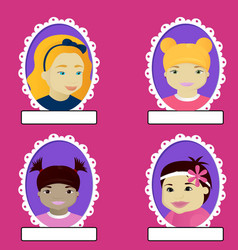 Set of girl portrait in oval frame vector