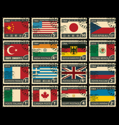 Set of stamps with flags of different countries vector