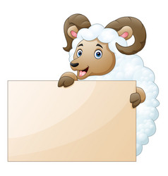 Sheep with empty boards on a white background vector