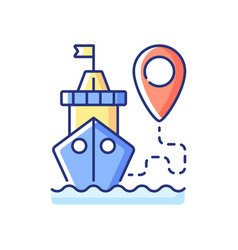 Ship tracking rgb color icon vector
