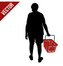 silhouette a person with shopping basket vector image