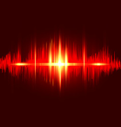 Sound wave rhythm background red fire color vector