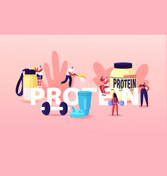 Sportsmen sportswomen drinking protein cocktails vector